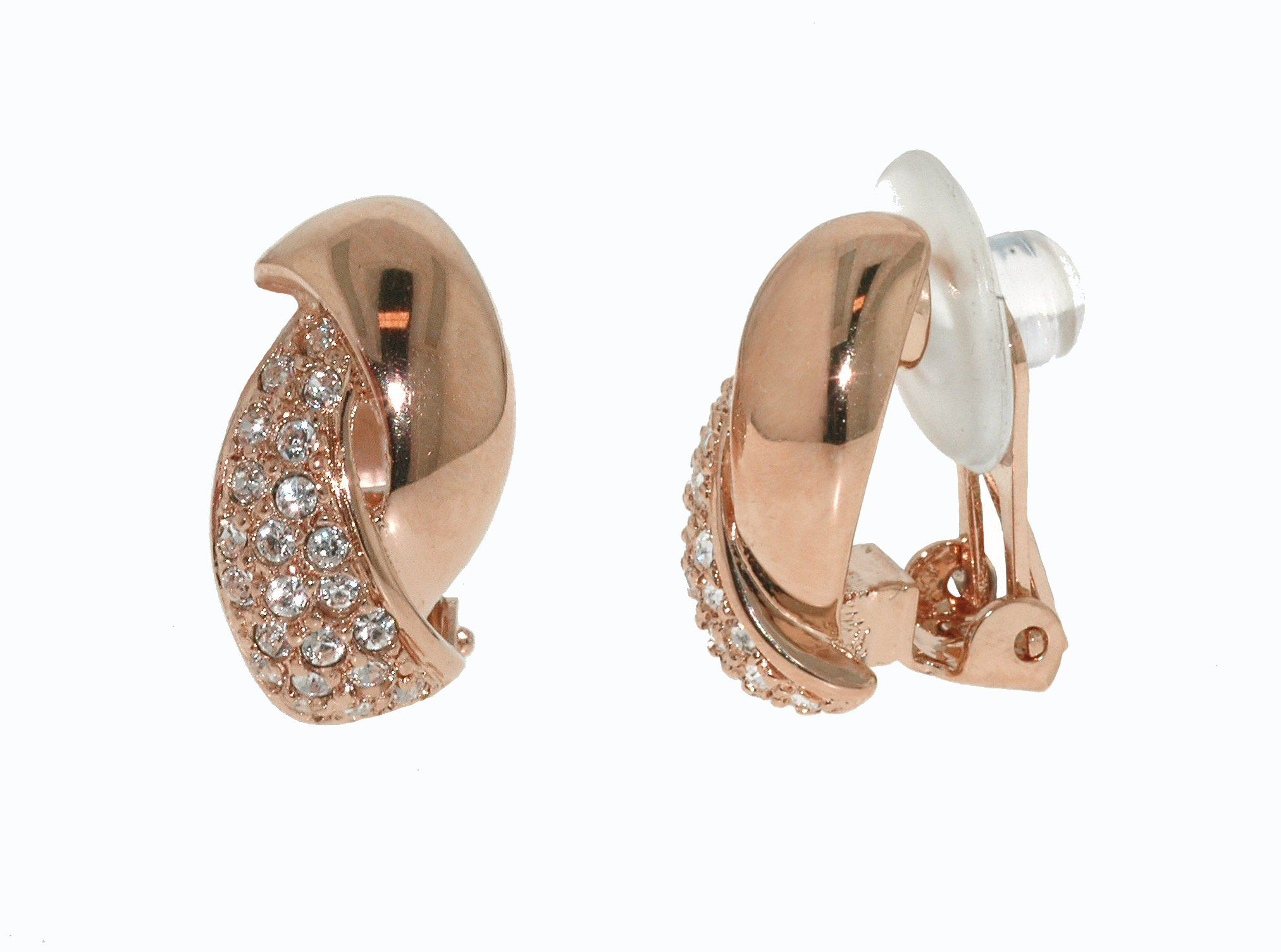 Rose & crystal curve clip earrings