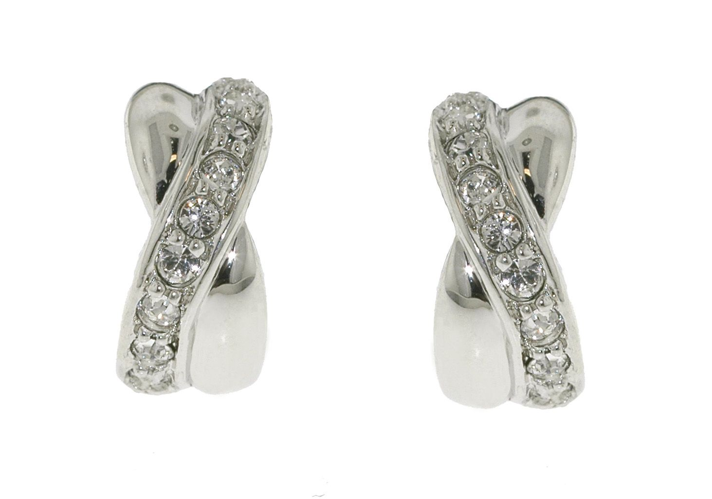 Rhodium & crystal cross pierced earring