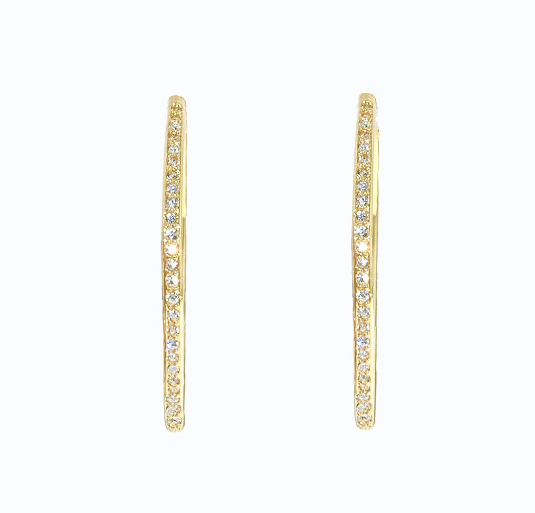 Gold & swarovski crystal hoop pierced earrings