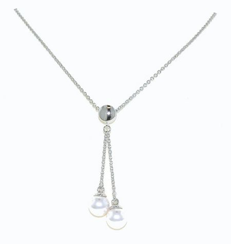 Lilli & Koe Rhodium & double drop pearl pendant