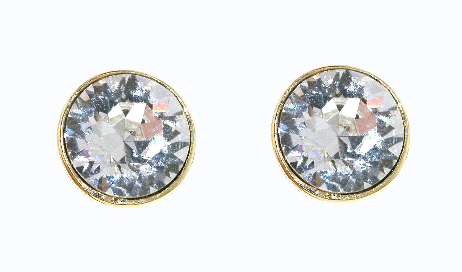Gold & crystal stud clip earrings