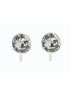 Rhodium & crystal stud earrings