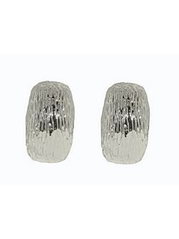 Rhodium textured clip earrings