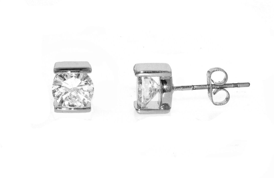lilli and koe rhodium and small cz pierced earrings