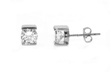 Lilli & Koe Rhodium & small cz pierced earrings