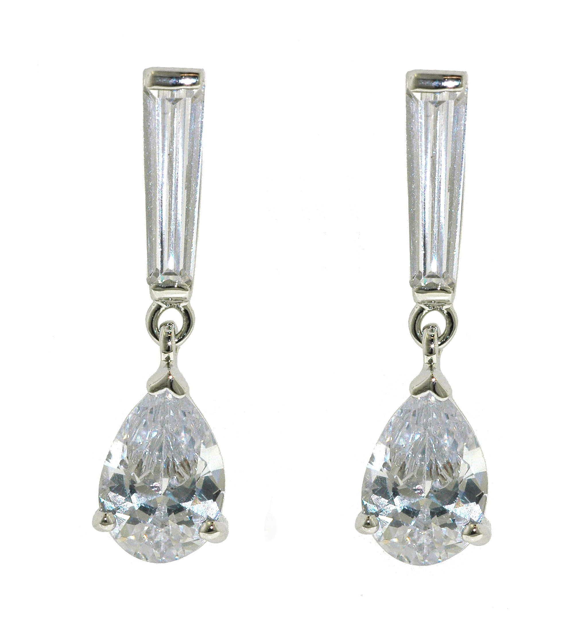 lilli and koe rhodium cz teardrop earring