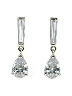 Rhodium CZ Teardrop Earring