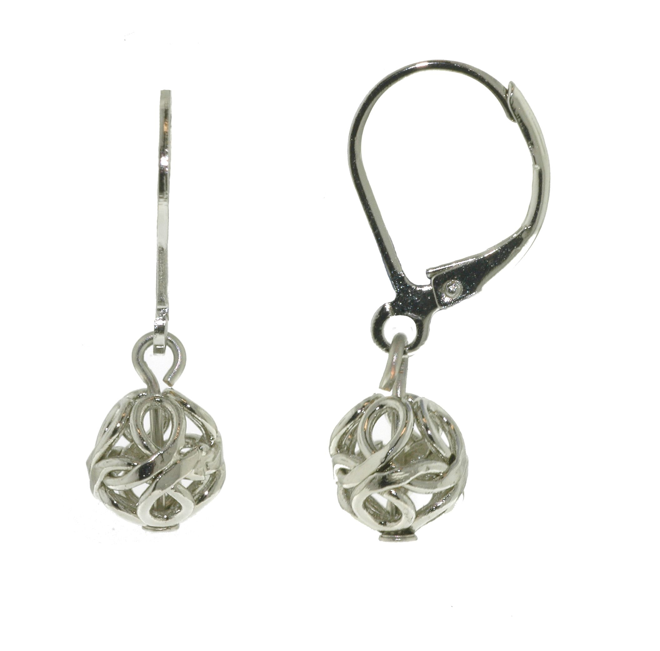 Silver filigree drop  leverback pierced earrings