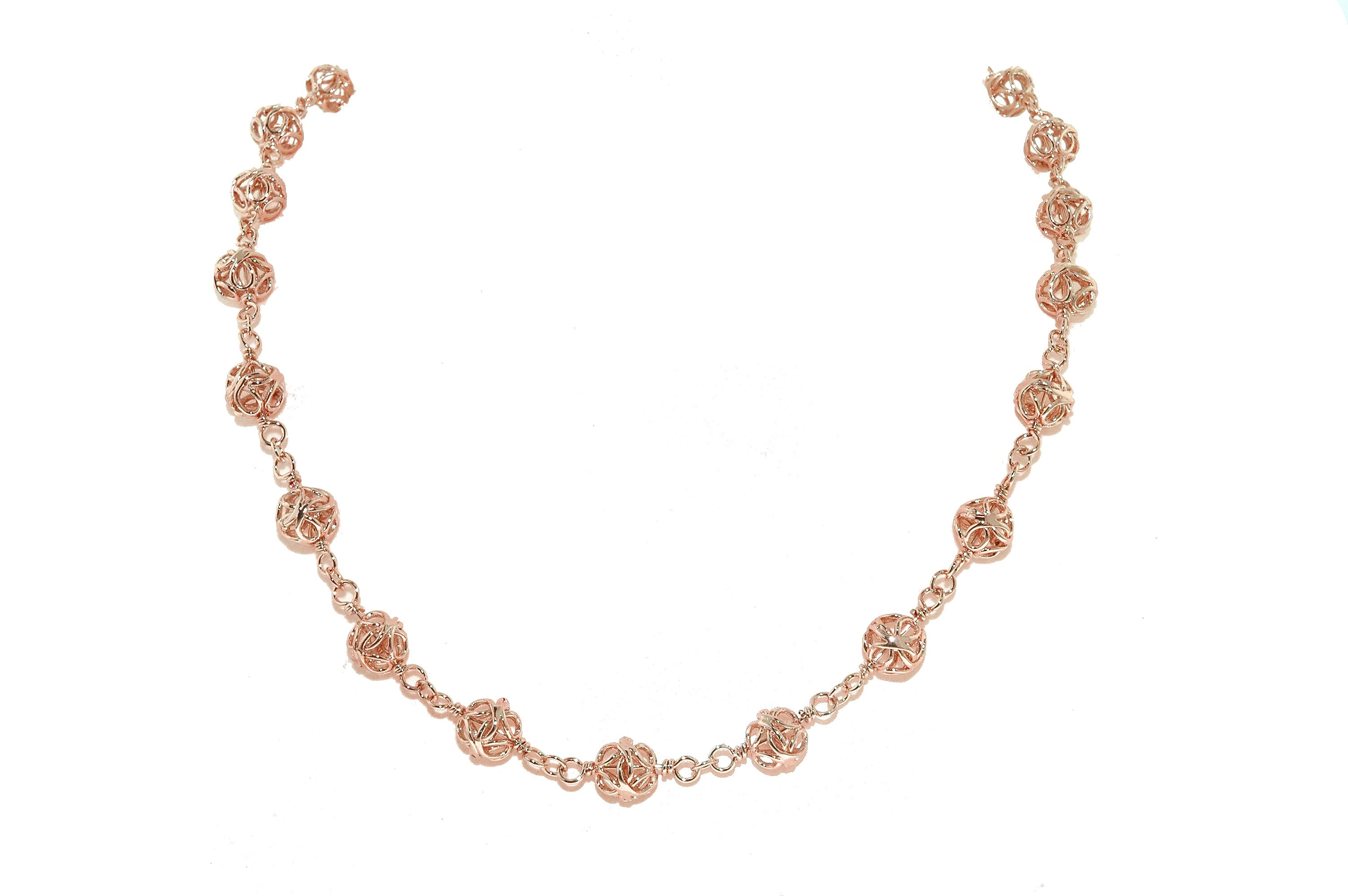 Rose gold filigree bead necklace