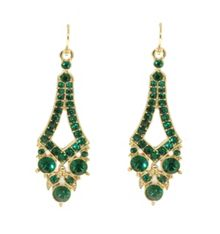 Gold & emerald tapered drop pierced earrings