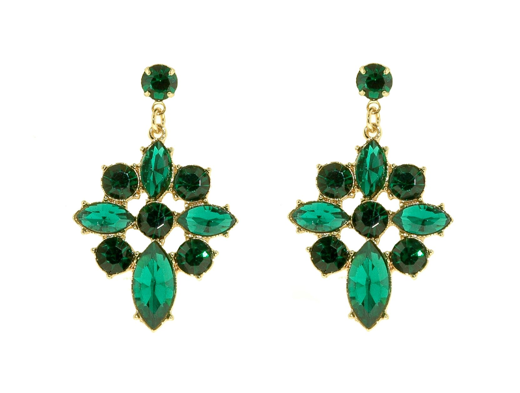 1928 Gold & emerald statement drop earrings Green