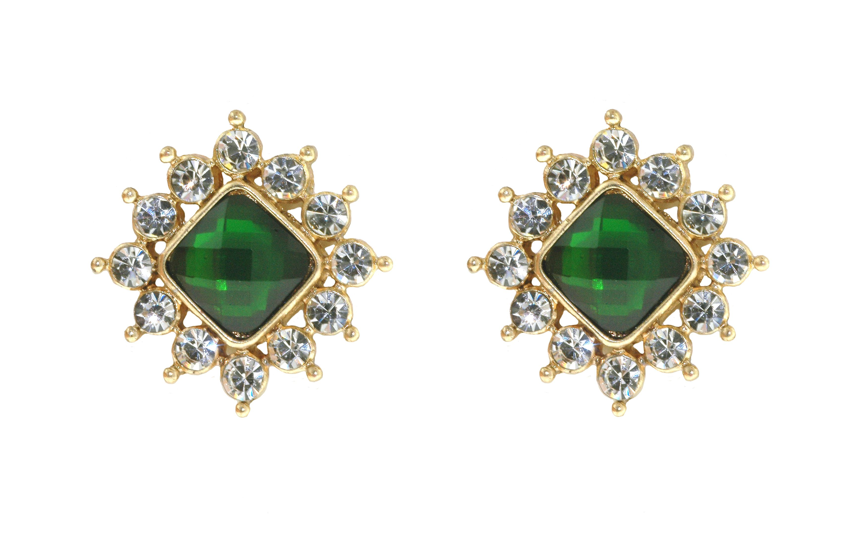 1928 Gold & emerald button earrings Green