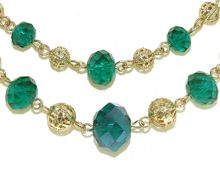 Gold & emerald bead necklace