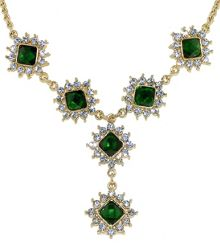 Gold & emerald crystal y necklace