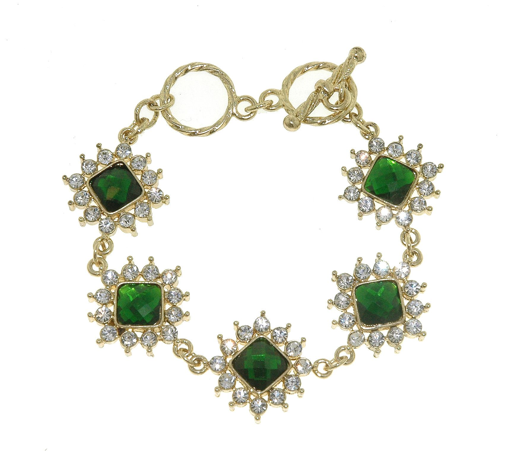 Gold & emerald toggle bracelet