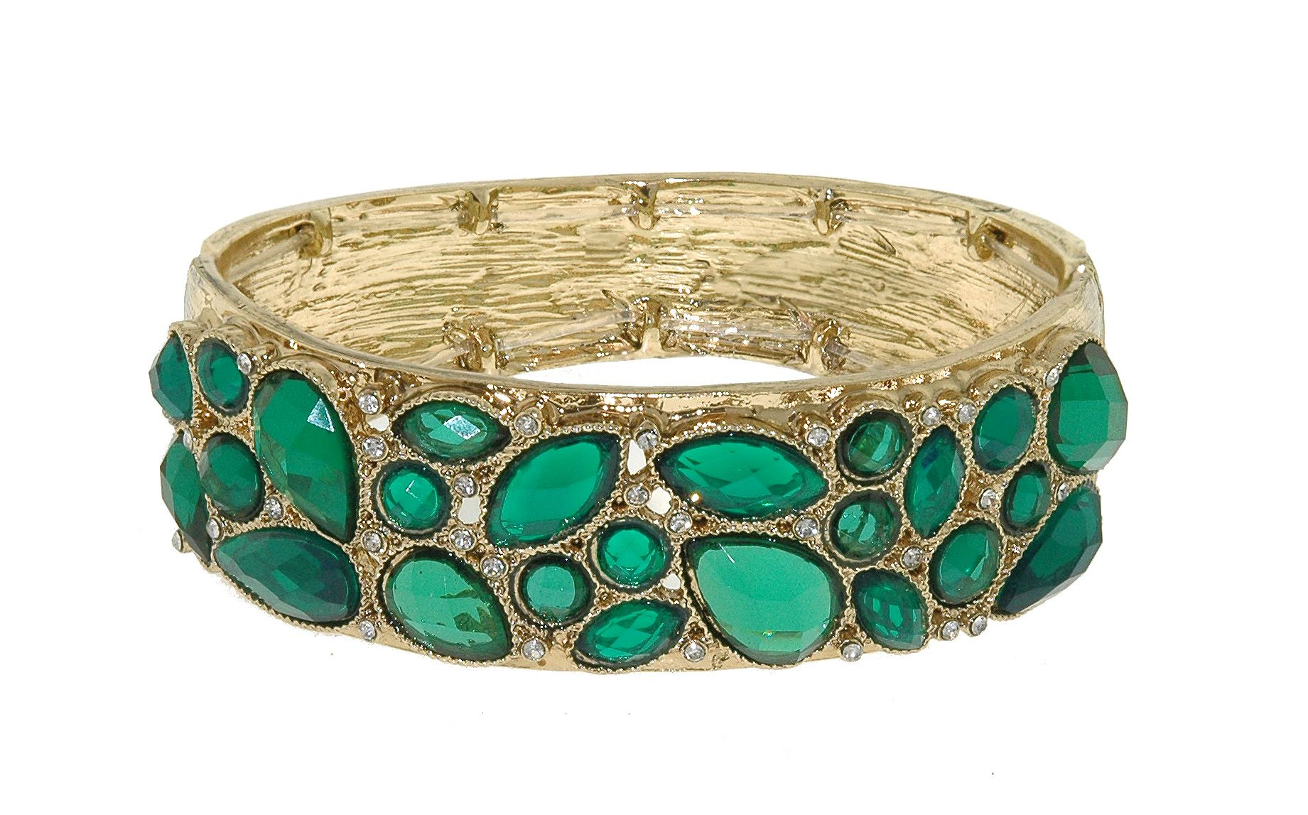 Gold & emerald cluster stretch bracelet