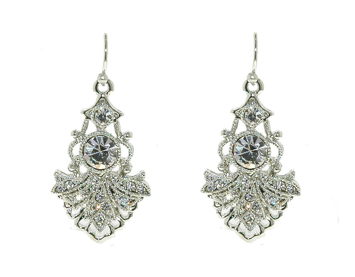 Silver crystal drop earrings