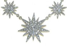 Silver crystal multi star necklace