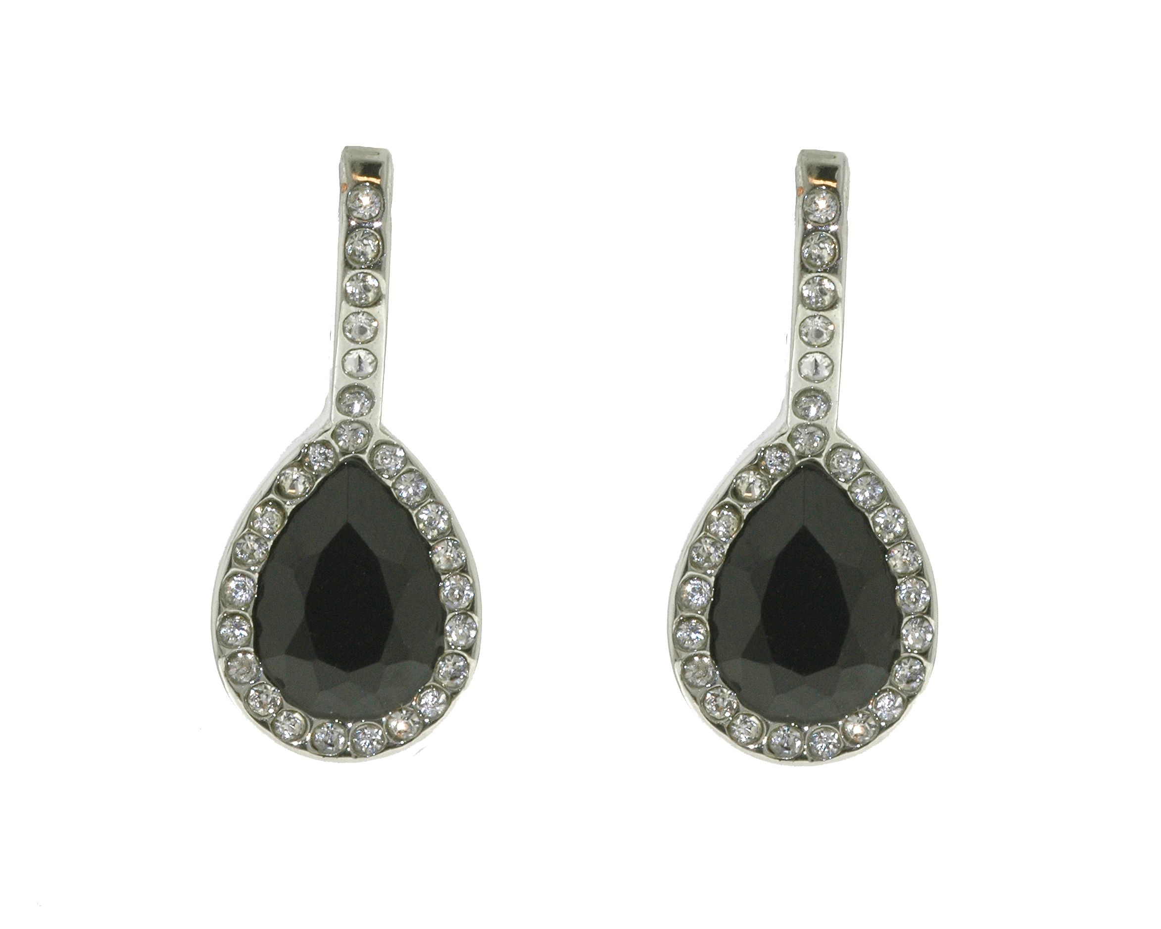Silver & jet leverback teardrop earrings