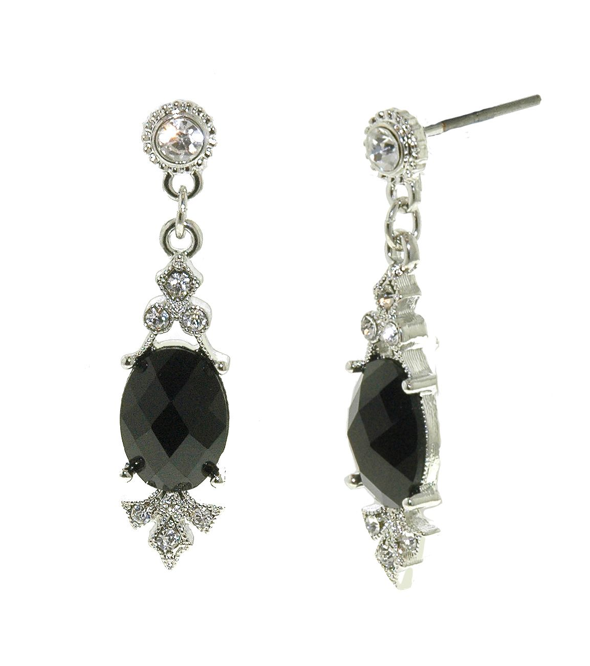 Silver & jet drop pierced earrings
