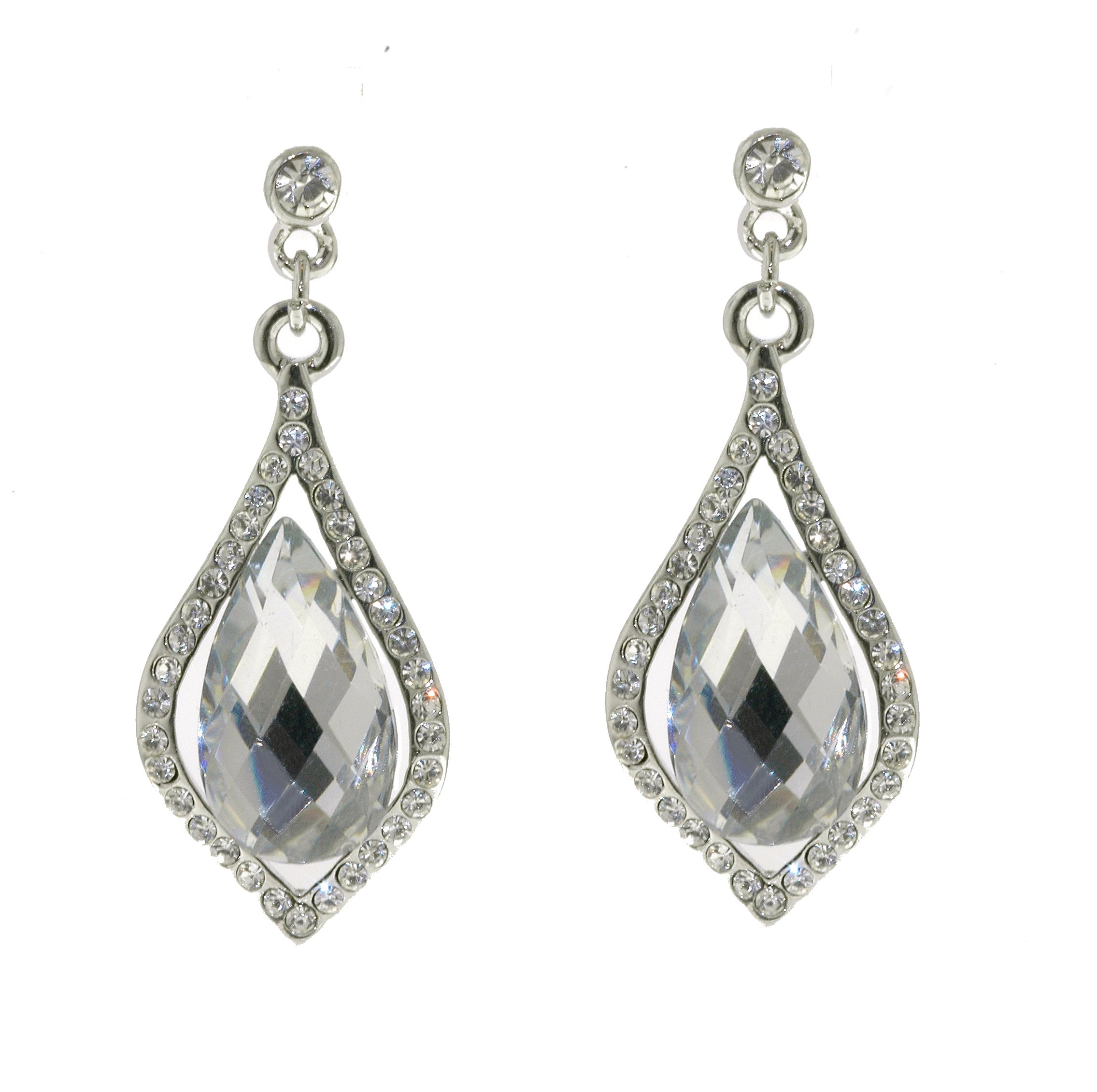 Silver & crystal pierced earrings