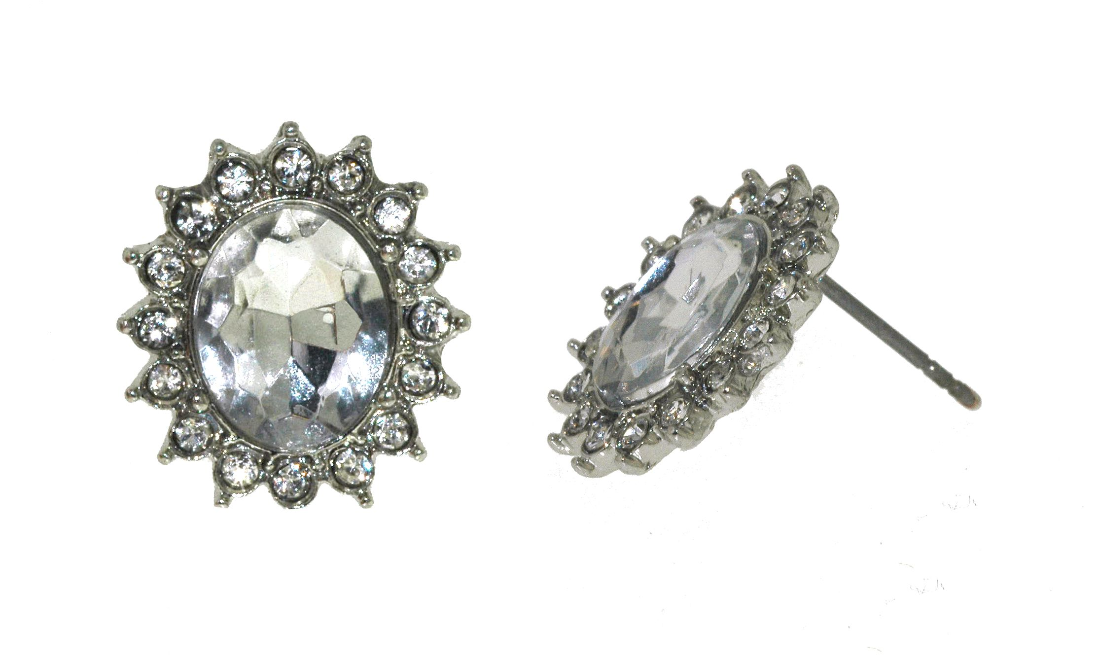 Silver & crystal button earrings