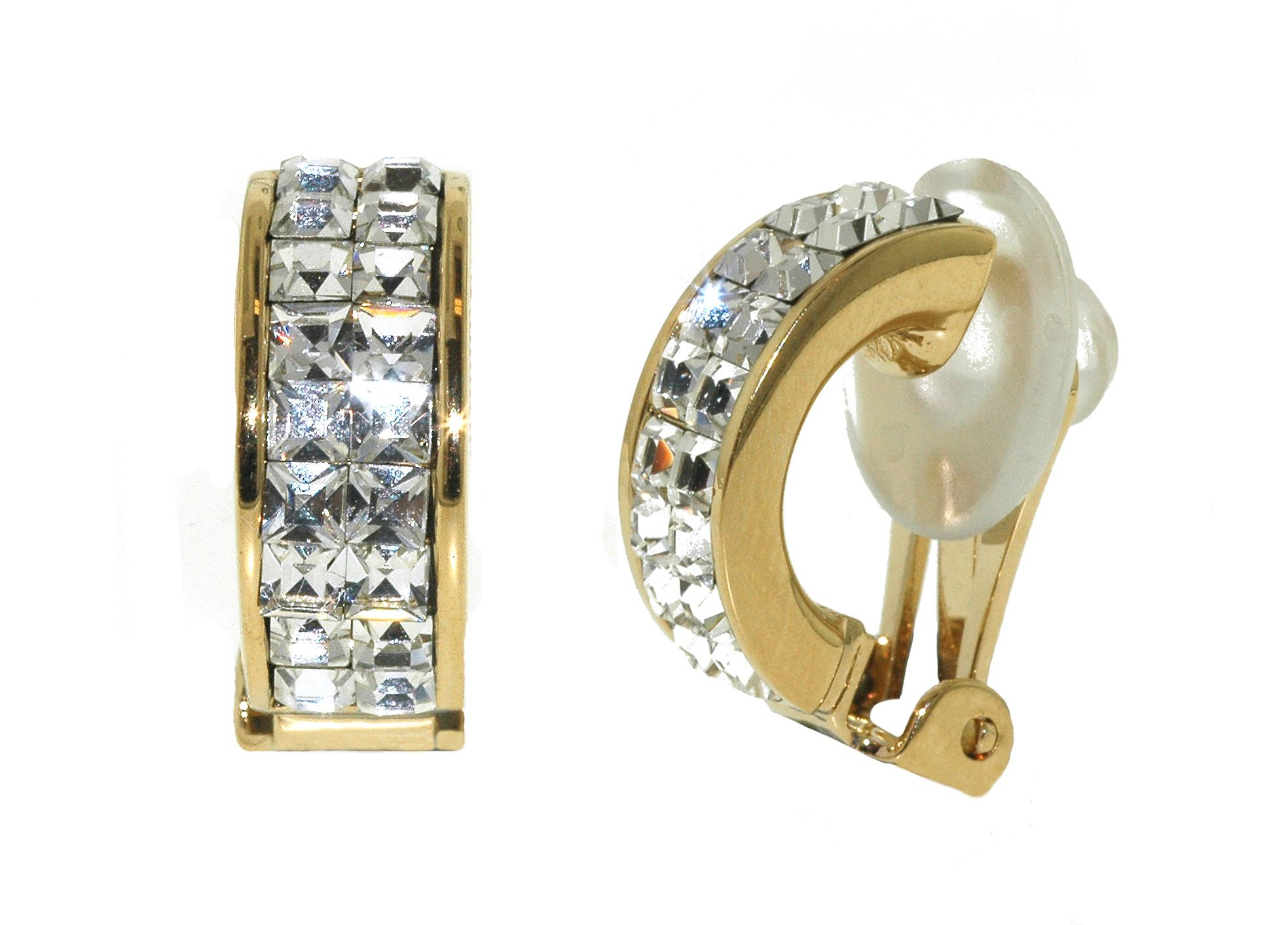 Lilli & Koe Gold & crystal half hoop clip earrings Gold