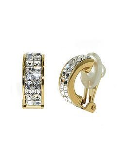Gold & crystal half hoop clip earrings