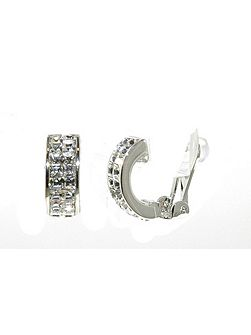 Rhodium & crystal half hoop clip earrings
