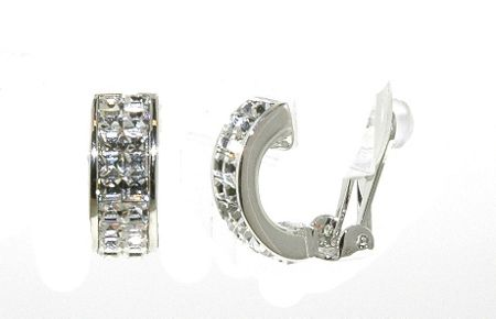 Lilli & Koe Rhodium & crystal half hoop clip earrings