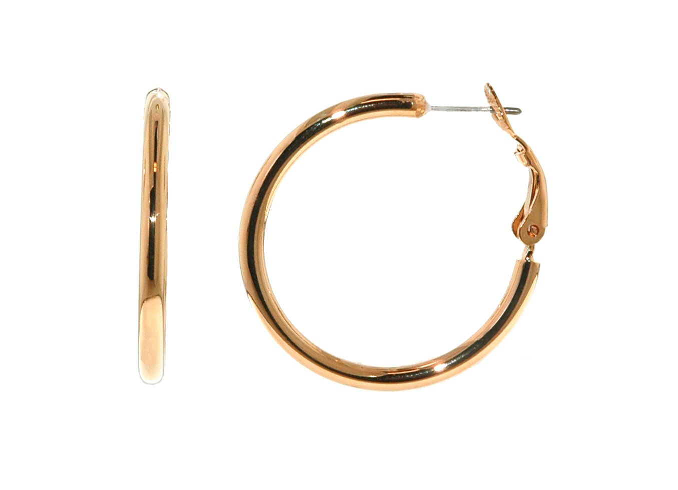 Rose gold hoop pierced earrings
