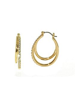 Gold double hoop crystal earrings
