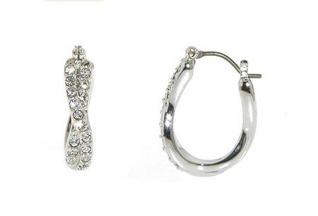 Lilli & Koe Rhodium & Crystal Hoop Earrings