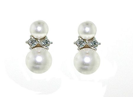 Lilli & Koe Rhodium pearl & crystal pierced earrings