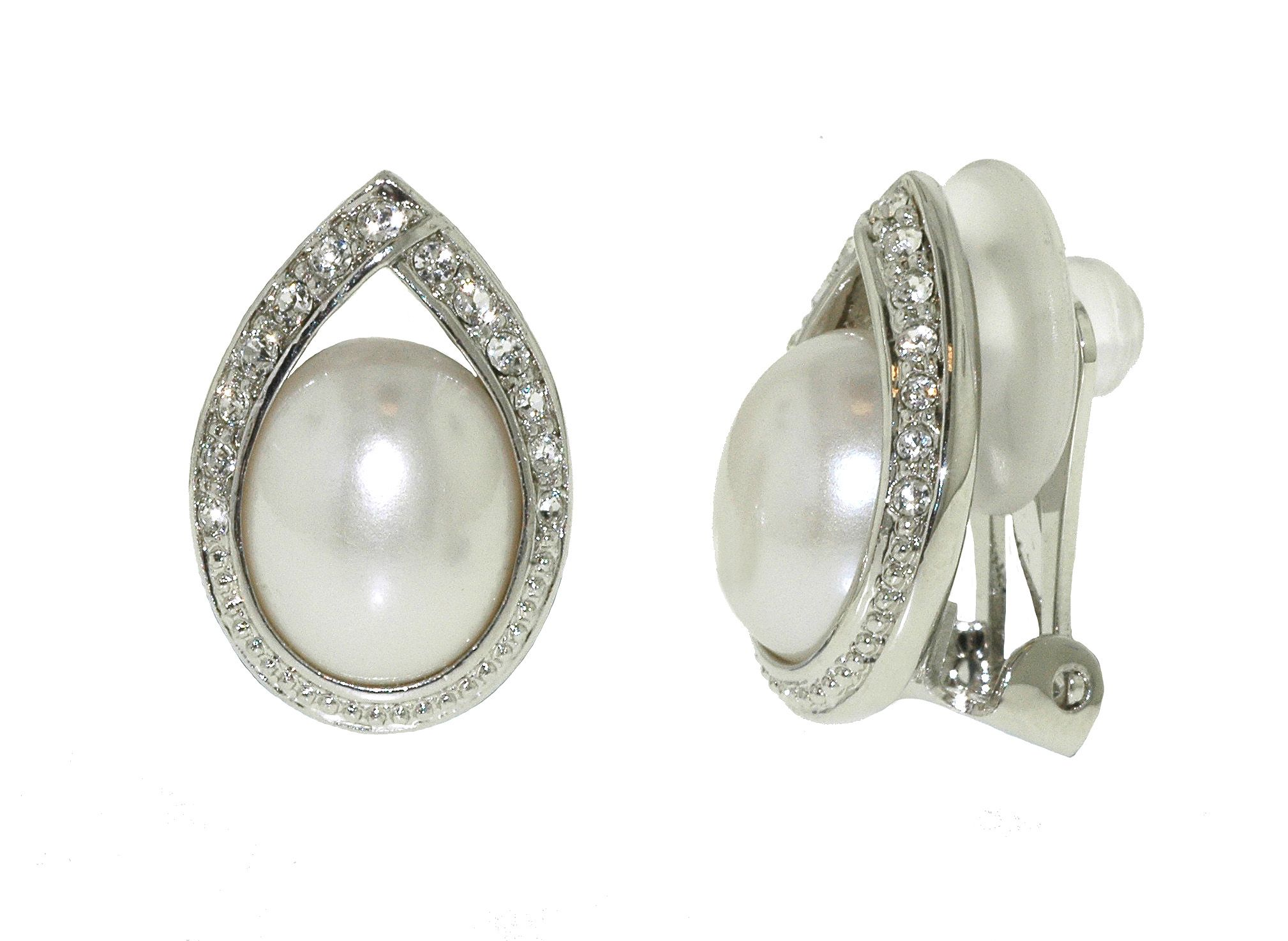 Rhodium pearl & crystal teardrop earrings