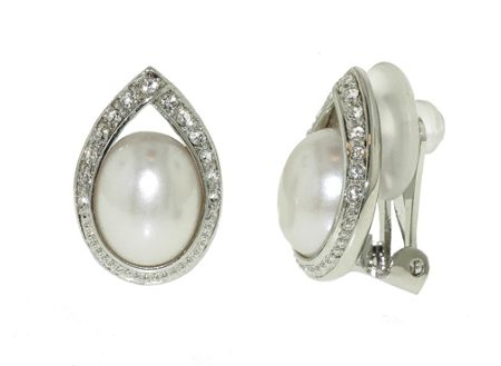 Lilli & Koe Rhodium pearl & crystal teardrop earrings