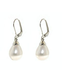 Rhodium Teardrop Faux Pearl Earrings