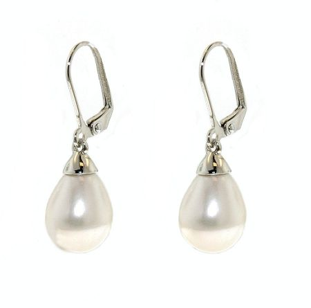 Lilli & Koe Rhodium Teardrop Faux Pearl Earrings