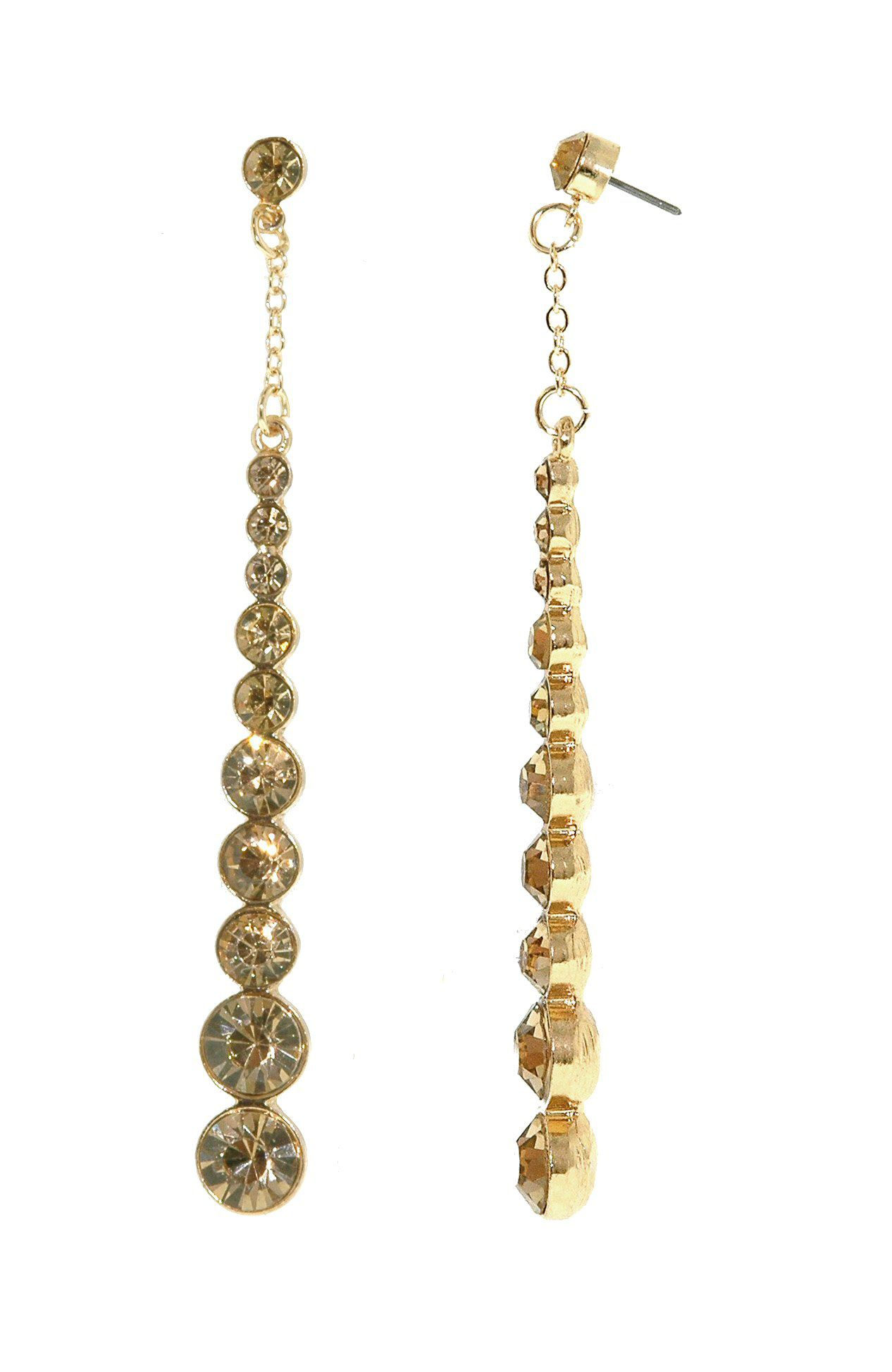 Gold & topaz crystal long drop earrings