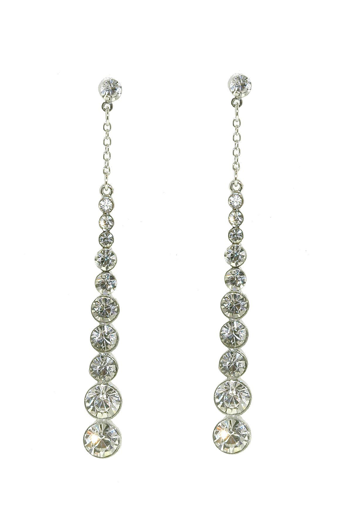 Silver & crystal long graduated drop earrings