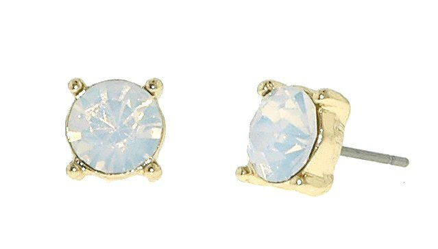 Gold & white opal stud earrings