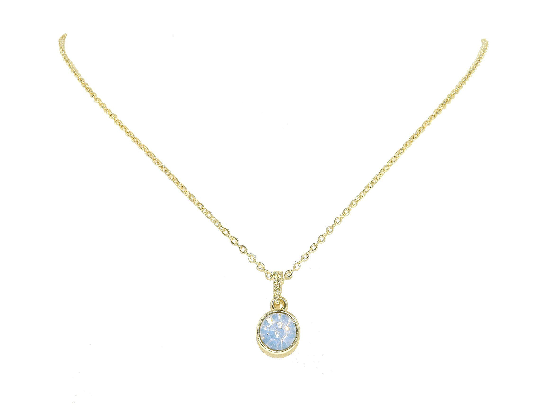 Gold & white opal crystal pendant