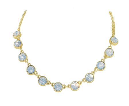 1928 Gold & white opal crystal necklace