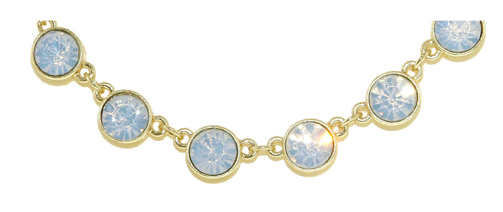 Gold & white opal crystal necklace
