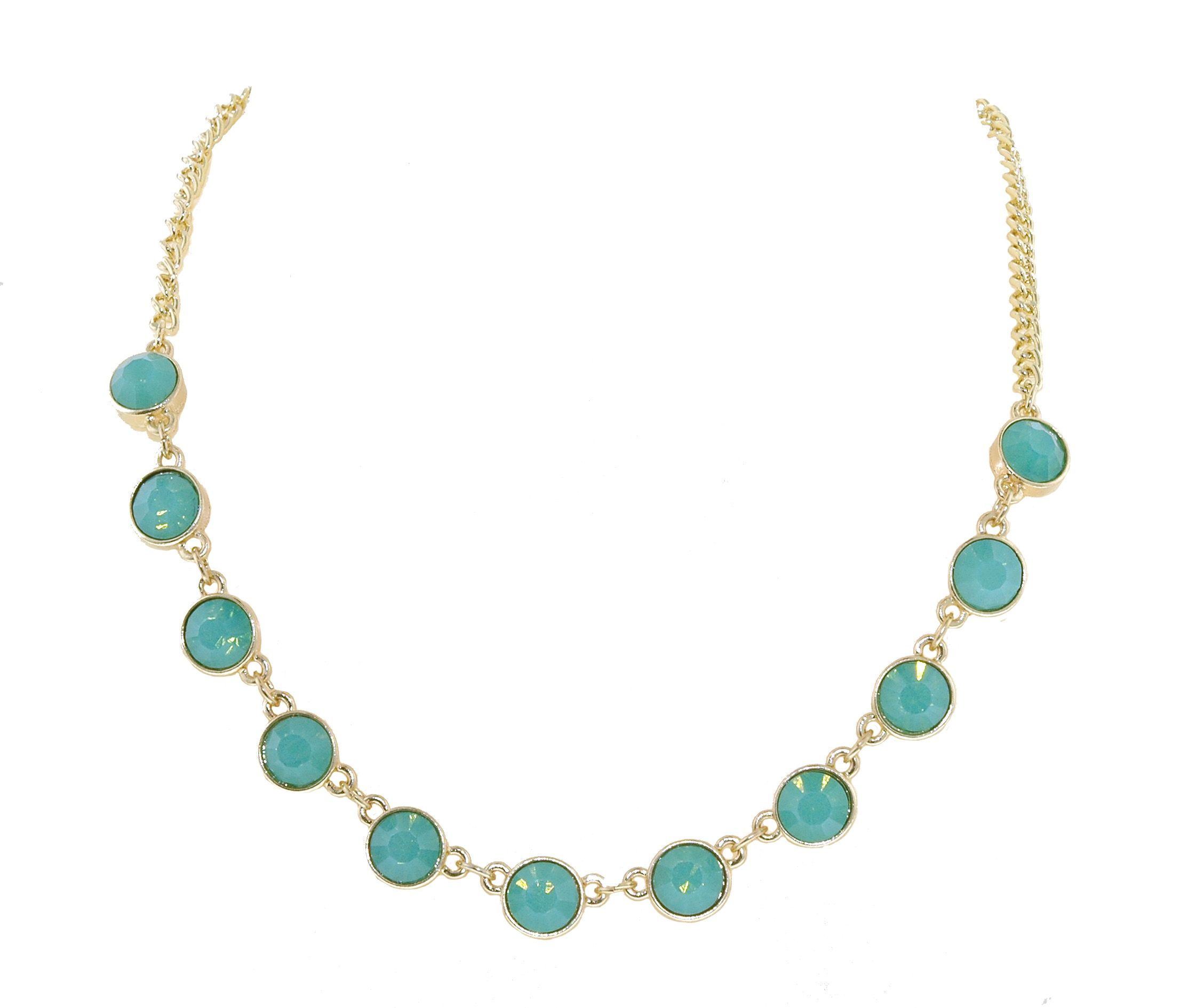 Gold & pacific green opal collar necklace