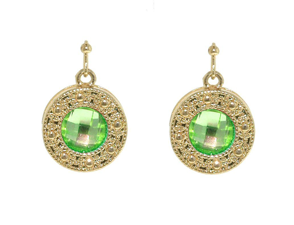 1928 Gold & light emerald crystal disc earrings Green