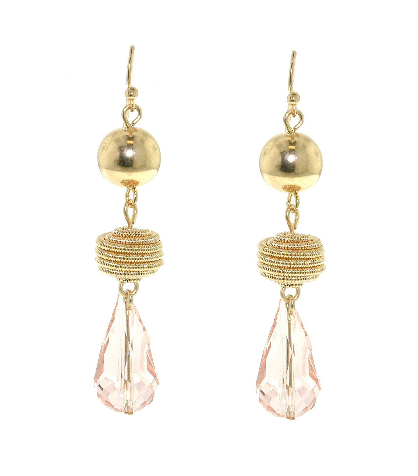 Gold ball & pink faceted bead drop earrings