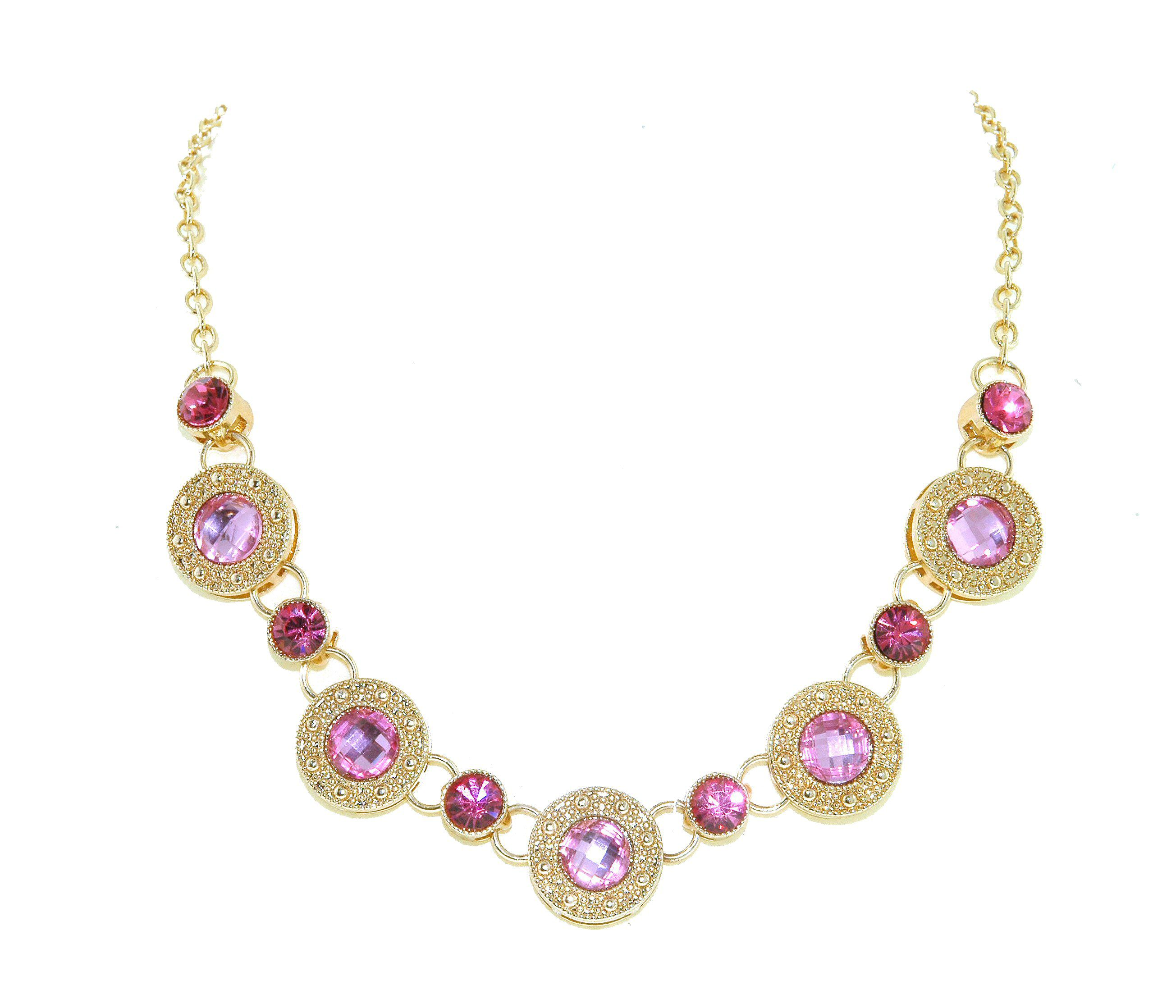 Gold & pink crystal disc necklace