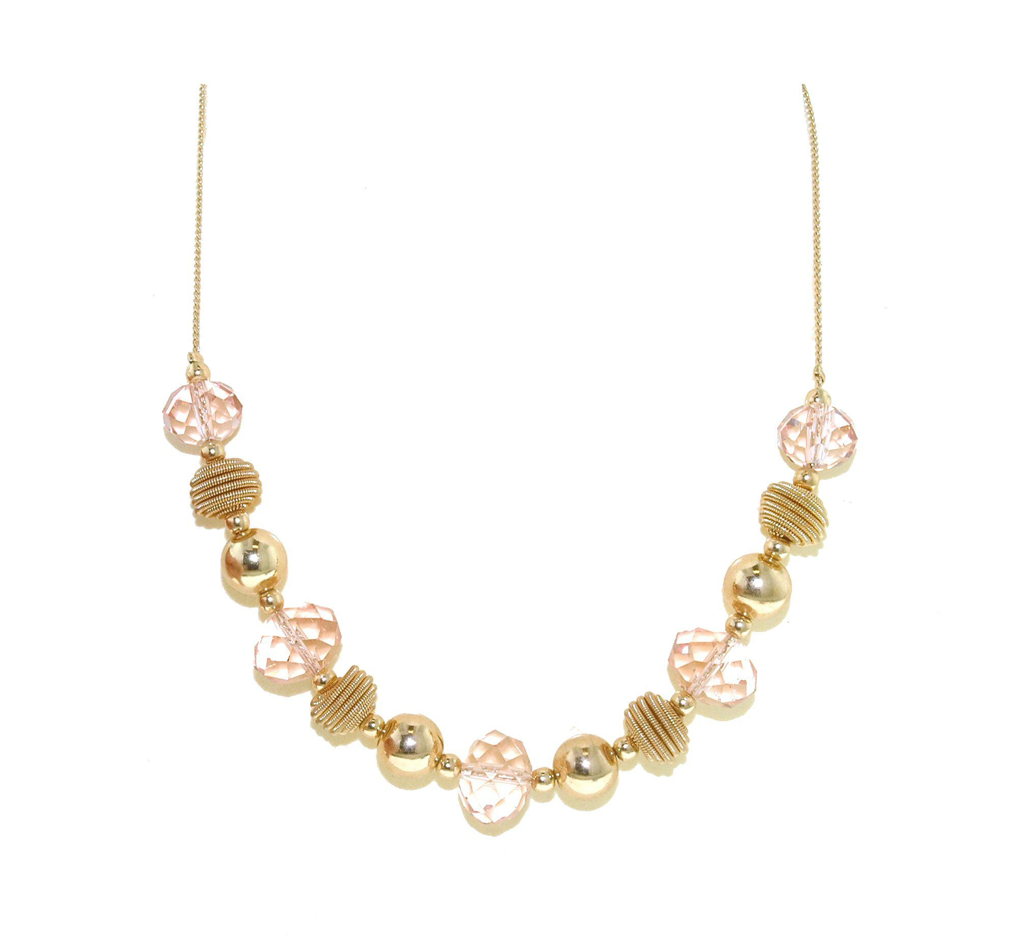 Gold ball & pink faceted bead necklace