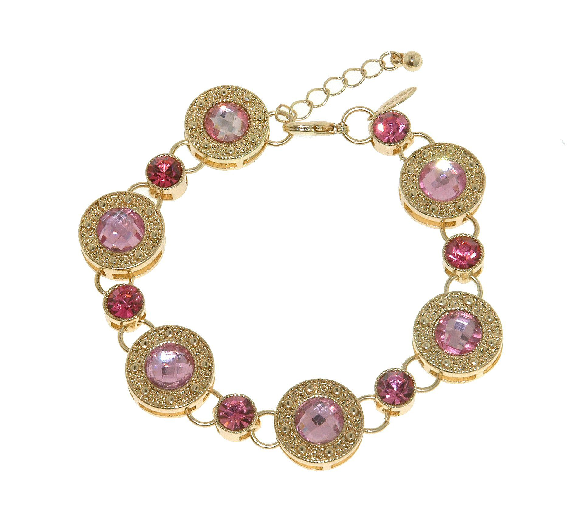 Gold & pink crystal disc bracelet